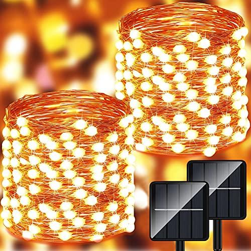 Guirnalda Luces Exterior Solar - 14m 140 LED Luces Led Solares Exteriores Jardin 8 Modos Impermeables Cadena de Luces Decorativas para Navidad Árbol Terraza Fiestas Bodas Patio Jardines Festivales