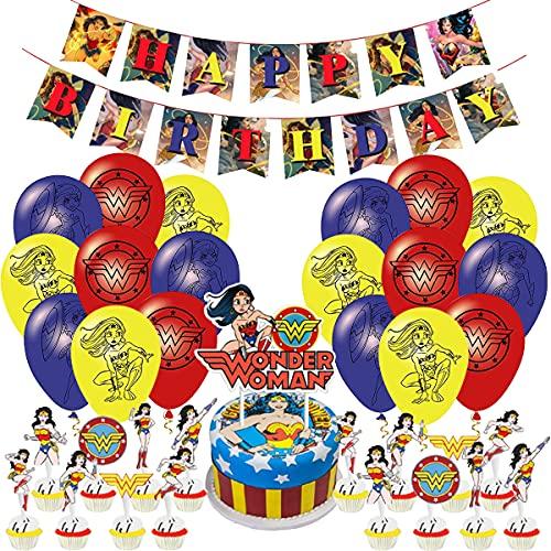 Wonder Woman Globos- Miotlsy 35pcs Superhero Girl Power Wonder para Mujer Suministros de Fiesta, Wonder Woman Decoración de Fiesta Niños Decoración de Fiesta de cumpleaños Familiar