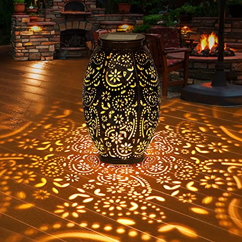 Linterna Solar Exterior GolWof Farol Solar Exterior Jardin IP44 Impermeable Luz Solar Exterio Metal Lampara LED Solar Vintage para Decoracion Jardin Patio Terraza Césped Arboles Fiesta Navidad